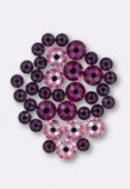 5mm / 7mm Hotfix Crystal Flatback Rhinestones 2038 Pink Mix M HF x36