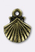 14x11mm Antiqued Brass Plated Shell Charms x2