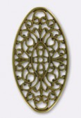 50x27mm Antiqued Brass Plated Oval Stamping x1
