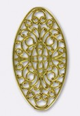 50x27mm Gold Plated Oval Stamping x1