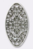 50x27mm Antiqued Silver Plated Oval Stamping x1