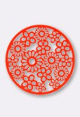 32 mm Round Stamping W / Flowers Bright Neon Orange x1