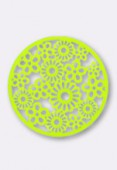 32mm Round Stamping W /  Flowers Bright Neon Lime x1