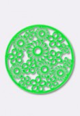 47mm Round Stamping W /  Flowers Bright Neon Green x1