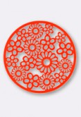 47mm Round Stamping W /  Flowers Bright Neon Orange x1