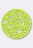 47mm Round Stamping W /  Flowers Bright Neon Lime x1