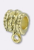 10x6mm Gold Plated Wide Bail To Attach Charm Bead - European Style Large Hole x2