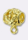 10x10mm Gold Plated Wide Bail To Attach Charm Bead - European Style Large Hole x2