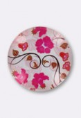 20mm Pink Flowers Printed Glass Round Cabochon x1