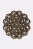 44mm Antiqued Copper Plated Filigree Round Connector Link x1