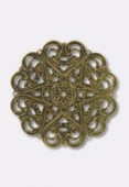 44mm Antiqued Brass Plated Filigree Round Connector Link x1