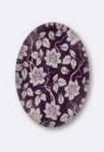 Tempered Glass Purple Flowers Cabochons Oval 25x18mm x1