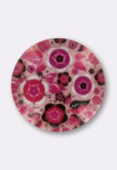 Tempered Glass Rose Bouquet Round Cabochons 14mm x2