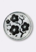 Tempered Glass Black Flowers Round Cabochons 14mm x2