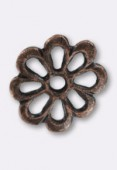 15mm Antiqued Copper Plated Open Cut Flower Beads x2