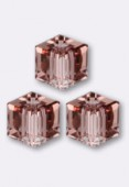 6mm Swarovski Crystal Cube 5601 Blush Rose x1