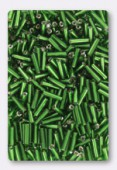 2x6mm Glass Bugle Beads Green x20g