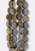 12mm Grey Czech Glass Square Beads x2