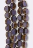 12mm Purple Czech Glass Square Beads x2