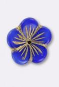 20mm Czech Glass  Flower Blue x1