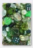 Pressed Green Beads Mix Czech Glass Beads x100g