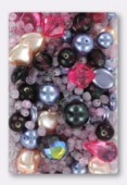 Pressed Pink Beads Mix Czech Glass Beads x100g