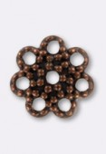 7mm Antiqued Copper Plated Bead Caps x24