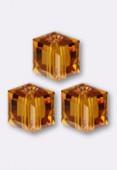 8mm Swarovski Crystal Cube Bead 5601 Topaz x1