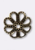 10mm Antiqued Brass Plated Open Work Flower Bead Caps x12