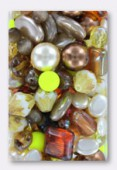 Pressed Topaz Beads Mix Czech Glass Beads x100g