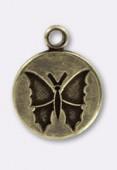 10mm Antiqued Brass Butterfly Sequin Charms x1