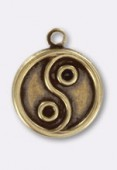 11mm Antiqued Brass Plated Ying Yang Charms x1