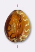18x14mm Drop Glass Bead Drak Topaz Gold x1
