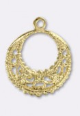 16.5 mm Gold Plated Hearring Hoops Stamping x1