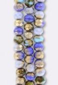 6x9mm Mix Blue Matte Bronze Czech Faceted Puffy Rondelles x4