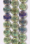 10mm Czech Round Beads Mix Green Blue Turquoise x4