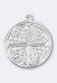 18mm Silver Plated Clover Sequin Pendant x1