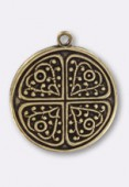 18mm Antiqued Brass Plated Clover Sequin Pendant x1