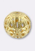 12mm Gold Plated Filigree Round Beads x2