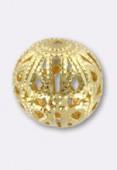 12mm Gold Plated Filigree Round Beads x2