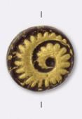 17mm Czech Druk Beads, Flat Oval-Shaped Nautilus Gold / Brown x1