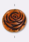 17mm Czech Coin Glass Bead Red Brown x1