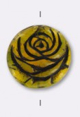 17mm Czech Coin Glass Bead Brown x1