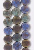 10mm Green Blue Bronze Matt Czech Round Coin Glass Beads x4
