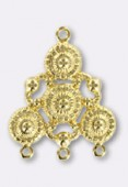 30x25mm Gold Plated Chandelier Stamping Pendant x1