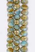 6x9mm Aquamarine Matte Gold Czech Faceted Puffy Rondelles x4x4
