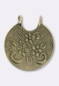 33x30mm Antiqued Brass Plated Flowers Stamping Pendant x1