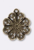 13mm Antiqued Brass Plated Rosace Pendant x1