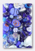 Pressed Blue Beads Mix Czech Glass Beads x100g