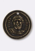 20mm Antiqued Brass Roman Medallion x1